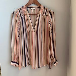 Joie 100% silk sheer stripe v-neck blouse